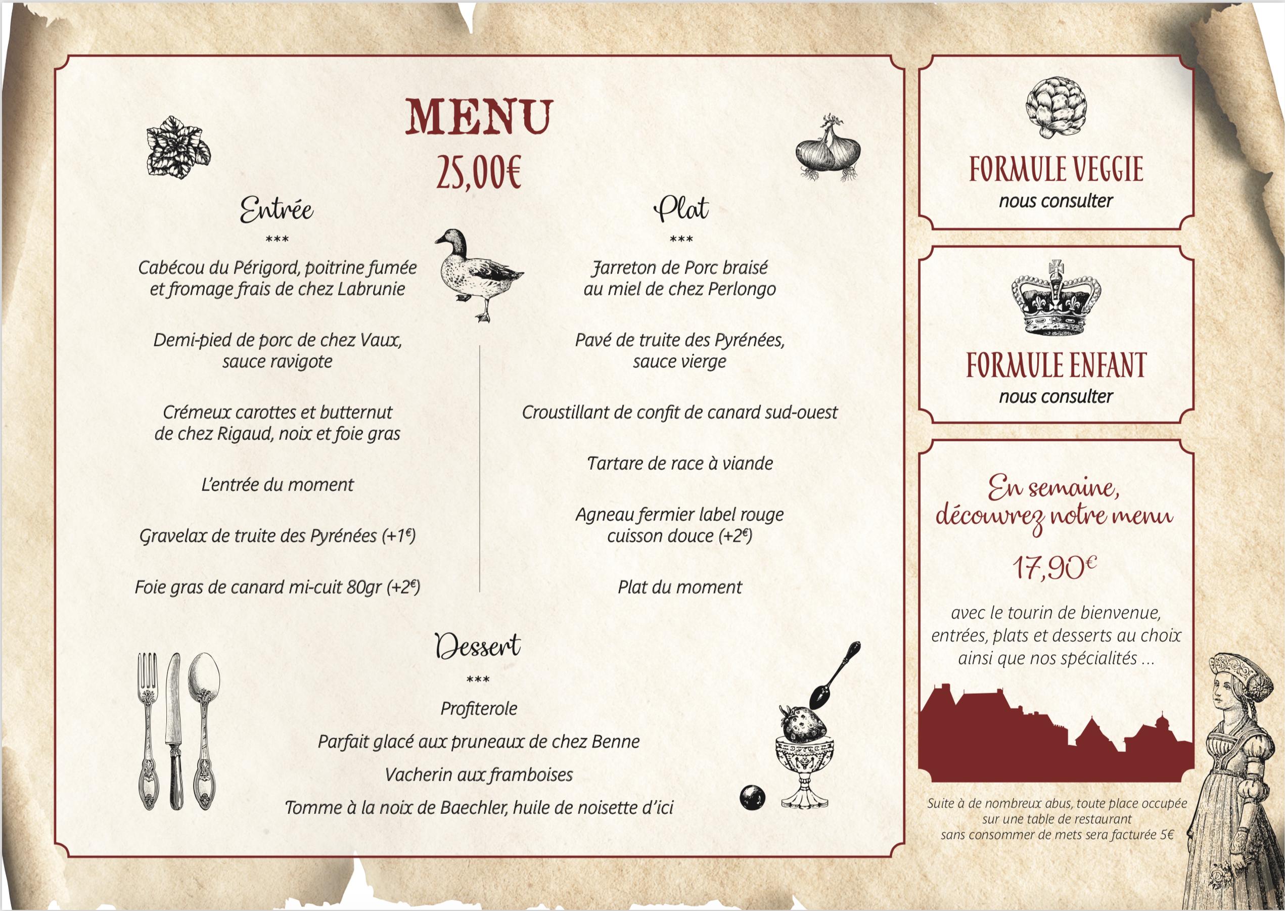 menu auberge du chateau de biron
